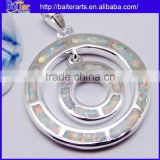925 Sterling Silver Necklace White Fire Opal Gemstone Sterling Silver Circle Pendant Wholesale