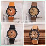 Hot In Stock Mixed Color Retro Cheap Wooden Watches Wood Women Men Wristwatch Brown Leather Analog Quartz Clock OEM watch