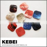 2 holes square natural fashion button , custom design colorful shell button for decoration