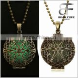 Vintage Bronze Alloy Round Shaped Flower Openwork Glow in the Dark Pendant Necklace