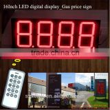 "Outdoor RF& TCP/IP 16"" inch Digital/time/temperature gas station LED petrol price sign display board"