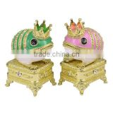 High quality metal Frog Prince Music Jewelry Box with crystal and enamel decoration, various color