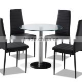 Modern Round Clear Glass Dinning Table Set With 4 Leather Chairs                                                                         Quality Choice