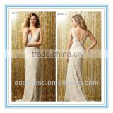 V-neck & V-back Mitered in a Chevron Pattern Chapel Train Lace Wedding Dress (WDWA-1007)