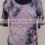Floral Design bandhej printed Tie Dye pattern hot summer wear casual knitted t-shirts wear