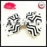 Black and White polka dot and stripe print layered grosgrain ribbon hair bow on alligator clip