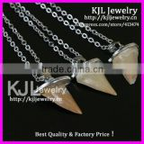 GZKJL-CT0342 Hot crazy sale Natural druzy gem stone shark teeth tooth pendant in silver chain