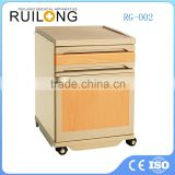 wood color Best ABS bedside nightstand Hospital furniture supply portable bedside locker sickroom table