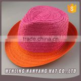 Curling Hat HIgh Top Cute Summer Straw Hat Fedora Hats