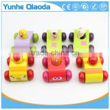 baby wooden sounding car toys/ pull back cartoon Mini wood car toys for kids and child gifts