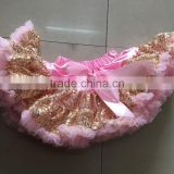 Pink Gold Sparkly Sequins Skirts Fluffy Cheap High quality Pettiskirts Sequins skirt for baby girls