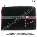 Velvet zip pouch with satin lining