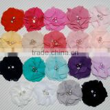 CF0460 2013 New arrival custom cheap baby 2 pearl rhinestone chiffon flower for hair