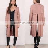 Elegant Women Apparel Autumn Spring New Fashion Korean Style Long Blouses Adult Open Back Longline Duster Coat Jacket 2017