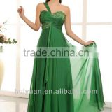 Newest One Shoulder Chiffon Emerald Green Bridesmaid Dresses