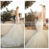 sex lace open back mermaid fish cut wedding dress