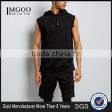 Black Sleeveless Running Hoodie Single Pocket Front Soft Jersey Fabric Fashion Men Tops Custom Made