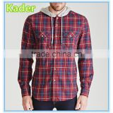 Casual Hooded Plaid Flannel Shirt for men Image