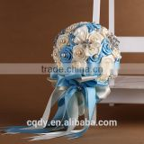 Silk Ellie's bridal flower rose artificial bridal bridal bouquet white and blue color for wedding decoration