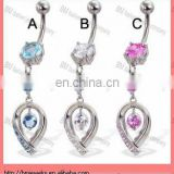 16g Belly button ring with big stone and jeweled teardrop dangle body piercing jewelry ring
