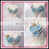 Aidocrystal Austrial Hot sale blue color sequins beaded tassel belly dance bra