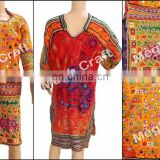 Vintage Afghani Mirror Work Tunic - 1960's Afghani Banjara Costume dress - afghani tribal top