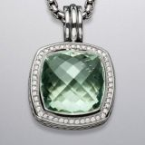 Sterling Silver 925 17mm Prasiolite Albion Pendant Enhancer