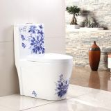 New arrival chinese style one piece siphonic bathroom ceramic blue colored beautiful toilets with hand paintting