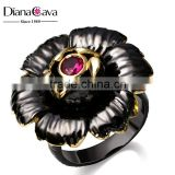 Big Flower Design Fuchsia Red Cubic Zirconia Bezel Setting Cocktail Jewelry Ring