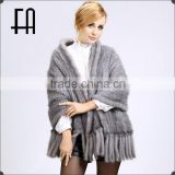 Factory direct wholesale price mink knitted fur scarf /mink fur scarf