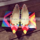 Designer shoes women famous brands rainbow color stud women flats pointy toe shoes wholesale flat shoes