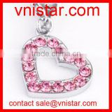 vnistar wholesale metal alloy pink crystal heart charm for charm bracelet TC185