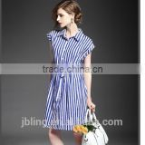 ladies high quality 100 cotton blue and white stripe dress