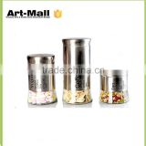 new premium glass tea,coffee,suger storage jar with stainless steel lid