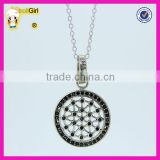 Hot sale 5 colors pure silver chain black cz stone pendant necklace jewelry