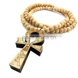 Men's good wooden Jay Z ankh cross chain 8mm bead 36'' necklace