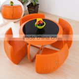 Hotsale Round Coffee Table Chairs Set Compact Rattan Balcony Furniture                                                                         Quality Choice