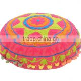 "16"" Round Suzani Pillows Indian Pom Pom Lace Floor Cushion Cover Boho Pillows Ethnic Shams Ottoman Poufs"