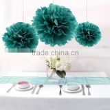12PCS Mixed Sizes Teal Tissue Paper Flower Pom Poms Pompoms Wedding Bridal Shower Party Birthday Favor Decoration