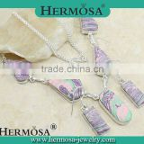 NEW ARRIVAL Hermosa Jewelry Trendy Mosaic Jasper Silver Necklace Earrings Jewelry Sets 2015 Woman Accessories
