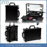 Wholesale Black Rolling Makeup Studio Type and Aluminum Material Mini Cosmetic Trolley Case With Light ZYD-HZMmlc011