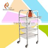 2015 hot sale commercial industrial hospital medicine serving trolley cart with 4 wheels good quality