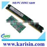 Cheap computer parts full compatible motherboards ddr2 ram 2gb with bulk /retail package