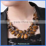 Wholesale Yellow Tiger Eye Statement Semi Precious Gemstone Necklaces GN-N013