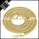 9mm 14k Gold Plated Double Cuban Link Curb Chain Necklace
