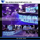 2015 hot sale modern design Acrylic Solid Surface nightclub LED furniture Long bar counter
