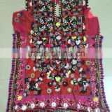 Multi color floral embroidery Vintage Banjara mirror work dress Kutchi Indian Tribal gypsy textiles