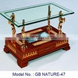 Antique Luxury Glass Top Coffee Table With Wooden Base And Drawer Unique Living Room Furniture For Home Indoor In High Quality