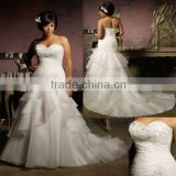 2013 new sweetheart embroidery beaded ruffled organza custom-made plus size wedding dress CWFaw4262