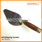BT325 Bricklaying Trowel with Wooden Handle and Carbon Steel Blade